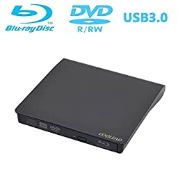 COOLEAD Portable Slim 3D External Blu-ray Player USB 3.0 External BD-RW CD-RW DVD-RW Writer Burner Drive For Apple MacBook Air Pro Laptop Desktop PC Cumputer (Black)