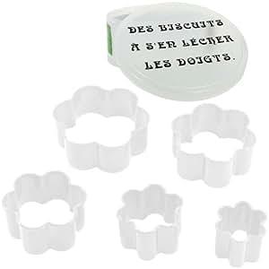 -Coffret Lot 5 Emporte Piece Patisserie Biscuit Humour Forme Fleur