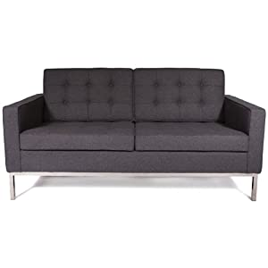 Amazon.com - Modern Florence Loveseat Sofa Couch in Dark Gray Wool ...
