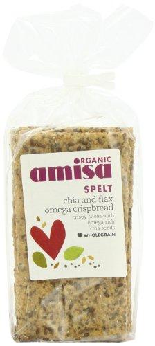 Amisa Organic Spelt Chia and Flax Omega Crispbread 200 g (Pack of 6)