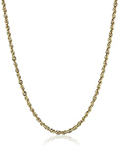 14k Yellow Gold Solid Diamond-Cut Rope Chain Necklace (2.0mm ), 18""