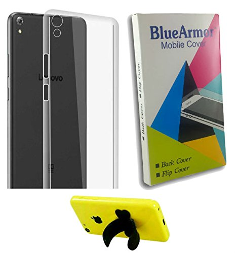 BlueArmor Soft Silicone Back Cover Case For Lenovo Phab 750m - Transparent & Mobile Stand