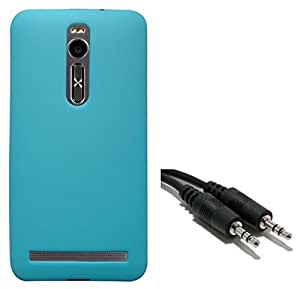 Chevron Premium Back Cover Case with Aux Cable for Asus Zenfone 2 ZE551ML (Aqua Blue)