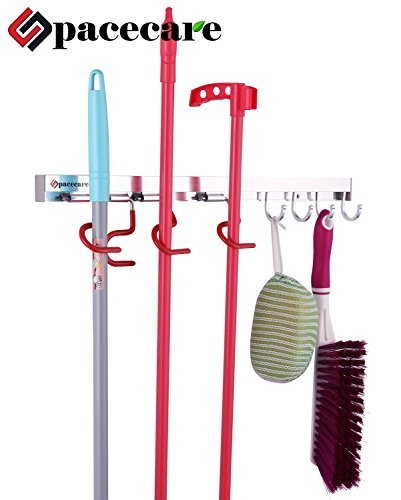 SPACECARE Mop and Broom Holder,wall Organizer Tool Storage & Organization for Home, Closet, Wall Broom Garage Rack,multi Function Mops, Brooms, or Sports Holder 4 Positions Hooks SPBH002 (Broom Closet Shelf compare prices)