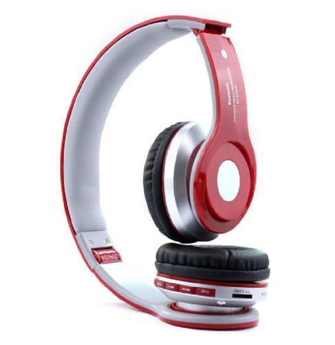 Doinshop Foldable Wireless Bluetooth Stereo Headset Mic For Iphone Samsung Htc (Red)