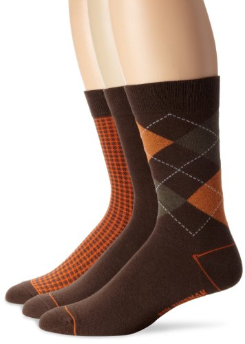Ben Sherman Men'S 3 Pack David Crew Sock, Brown, One Size