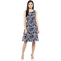 Blue Printed Knee Length Frock Dress