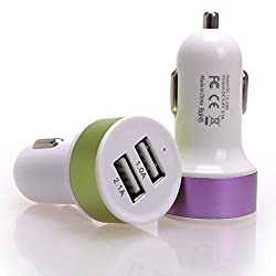 """UNMCOREâ""""¢ 2.1A Universal 2 Port USB Car Charger Power Adapter with USB port for Smartphone & Tablet - Multi Color"""