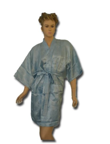 Satin Kimono Bath Robe Night Gown Geisha Flower Japan unisize for L / XL heavenblue KN08