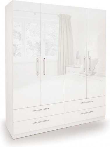 Angel 4-Door 4-Drawer Wardrobe, Wood, High Gloss White
