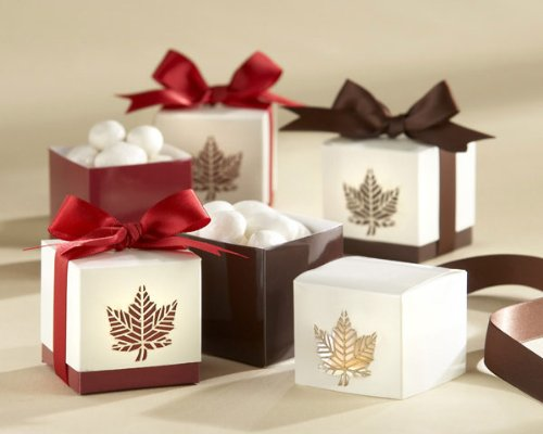 """Autumn Elegance"" Laser-Cut Fall Leaf Favor Box (Set of 24) with Brown Accents"