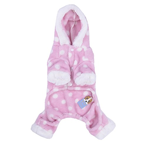Pet Adorable Dog Puppy Pajamas with Polka Dots Winter PJS Coat Jumpsuit for Small and Medium Sized Dog Puppy Cat Kitten-XS/S/M/L/XL (Dog Jumpsuit Winter With Feet compare prices)
