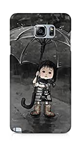Amez designer printed 3d premium high quality back case cover for Samsung Galaxy Note 5 (Cute Girl in Rain 2)