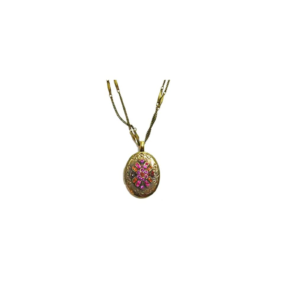80faae653 Israeli Designer Mariana Antique Gold Plated Double Chain Locket Pendant  Necklace with Fushia and Fire Opal