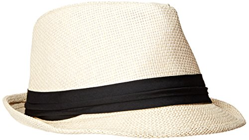 Short Brim Paper straw Fedora, Natural with Black Band Large/X-Large