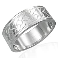 Stainless Steel Celtic Link Flat 8MM Wedding Band Ring (Size 13)