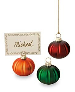 October Hill Decorative Hand-Painted Mini Multi-Color Glass Pumpkin Ornaments/Place Card Holders, Set of 3