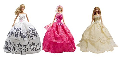 Barbie Party Gown, Evening Dress, Wedding Gown (3 Simply Dress Set) - Dolls NOT Included