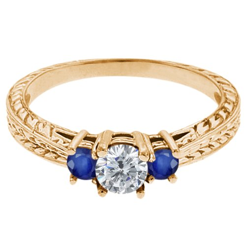 0.56 Ct Round G/H Diamond Blue Sapphire 18K Yellow Gold 3-Stone Ring