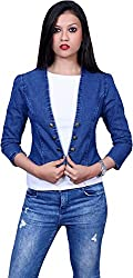 Style Souk Women's Regular Fit Jacket (Skj02, Blue, Medium)