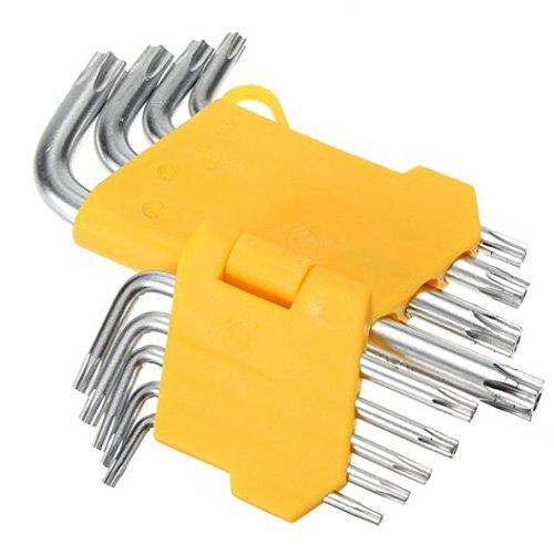 Hooshion 9pc Set Offset Safety Anti Tamper Proof Torx Star Key Bit Wrench L-Shape T10 T15 T20 T25 T27 T30 T40 T45 T50 (Tamper Allen Key compare prices)
