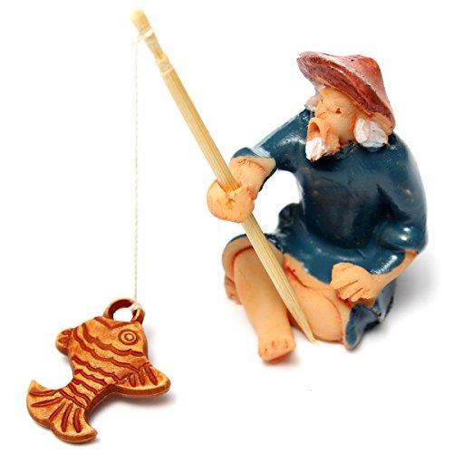 KINGSO Miniature Dollhouse Flower Pot Plant Craft DIY Fariy Landscape Garden Ornament,Old Man Fishing