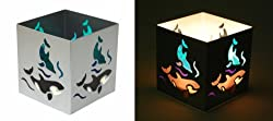 """Square Dolphin Silver Tealight Candle Holder - 3"""" x 3"""" (Candleholder / Marine)"""