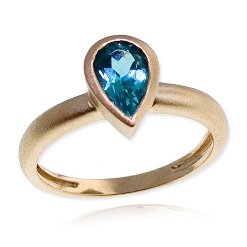 14k Matte Finish Yellow Gold Bezel Set Pear Shaped Apatite Ring, Size 8