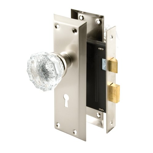 Prime-Line Products E 2496 Keyed Mortise Lock Set with Glass Knob, Satin Nickel (Glass Door Knobs With Lock compare prices)