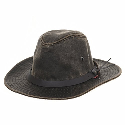 WITHMOONS Indiana Jones Hat Weathered Faux Leather Outback Hat AL8343 (Brown) (Bush Hat Leather compare prices)
