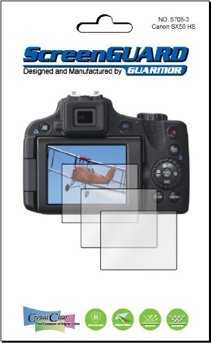 3X Canon Powershot Sx50 Hs Digital Camera Premium Clear Lcd Screen Protector Cover Guard Shield Film Kits. Exact Fit, No Cutting. (3 Pieces By Guarmor)