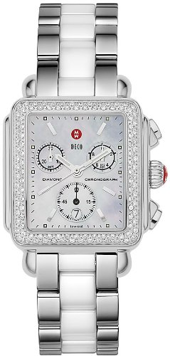 Michele Woman's MWW06A000716 Deco Diamond Stainless Steel Ceramic White Watch