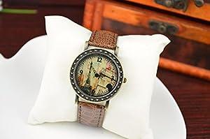 Women Ladies Eiffel Tower Arc DE Triomphe Vintage Bronze Leather Jewelry Watch Brown
