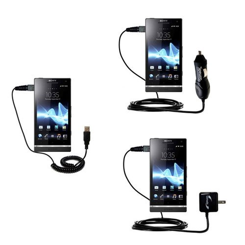 USB cable with Car and Wall Charger Deluxe Kit for the Sony Ericsson Xperia ion - uses Gomadic TipExchange Technology