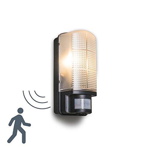 QAZQA Modern Außenleuchte Mossa mit Bewegungsmelder schwarz für Außen, Kunststoff, Rechteckig / für LED geeignet E27 Max. 1 x 60 Watt