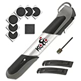 Mini Bike Pump - 120 psi Aluminum Telescopic with Frame Mount, Ergonomic Handle and Bonus Repair Kit and Ball Needle | Compatible with Presta and Schrader Valves