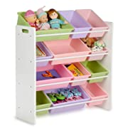 Honey-Can-Do SRT-01603 Kids Toy Organizer and Storage Bins, White/Pastel
