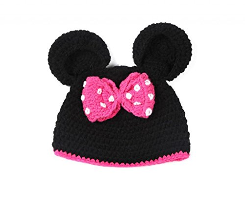 AllHeartDesires Baby Girl Crochet Minnie Mouse Beanie in Hot Pink & Black Party Costume Photo Prop Hat