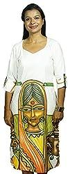Baja Women's Dress (DS_3Q_VN_WTE, White & Mustard , S)
