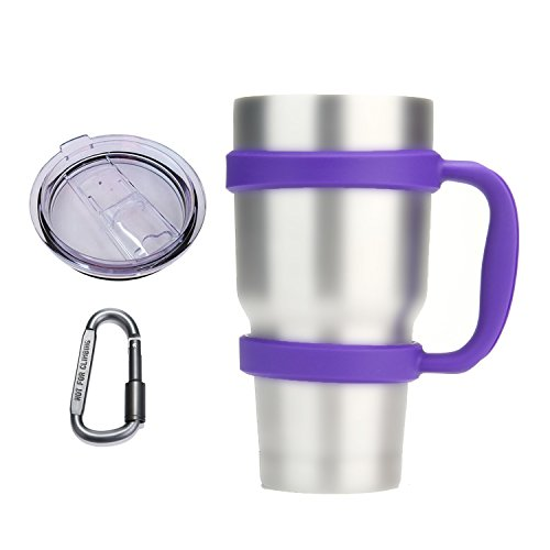 Umiwe Anti-Slip Handle for Yeti Rambler Ozark Trail 30 Oz Tumbler Colorful Cup Mug Grip Holder with Sliding Lid & Carabiner (Purple) (Cup Holder Lid compare prices)