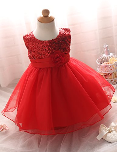 NNJXD Girl Flower Sequin Princess Tutu Tulle Baby Party Dress Size 4-9 Months Red