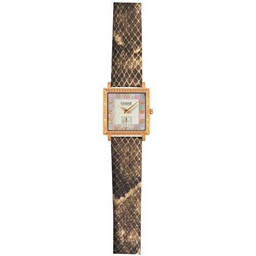 Charmex Paris Femme Beige Cuir Bracelet Acier Inoxydable Boitier Montre 6055