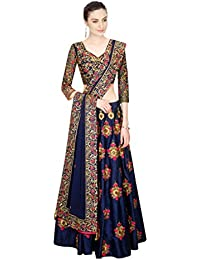 Aracruz Women's Clothing New Collection In Designer Party Wear Low Price Navy Blue Color Banglori Silk Embroidered...