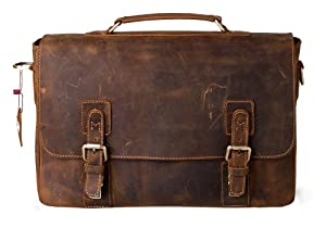 Kattee Mens Top Layer Real Cow Leather Shoulder Briefcase Attache 14 Inch Laptop Bag Tote from Kattee