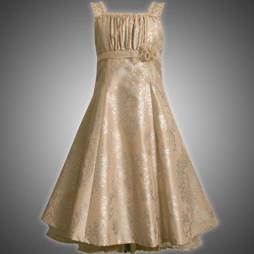Bonnie Jean Girls 7-16 GOLD SILVER FOIL SHANTUNG FIT-N-FLARE Special Occasion Wedding Flower Girl Holiday Pageant Party Dress-10 BNJ-4708X-X44708