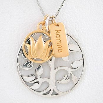 Tree of Life, Lotus Flower & Karma Charm Necklace in Sterling Silver and Gold Vermeil on a 20