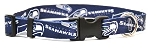 Yellow Dog Design Seattle Seahawks Licensed NFL Dog Collar, Large, 18-Inch by 28-Inch