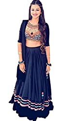 The Zeel Fashion Black Colorgorgette Anarkali Unstitched lehegas set