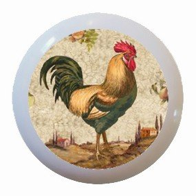 Country Rooster Chicken Ceramic Knobs Pulls Kitchen Drawer Dresser Cabinet 995