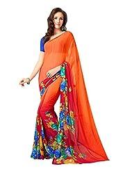 Alluring Orange & Red Saree